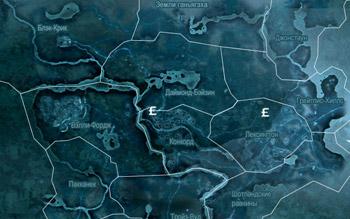 Карта с магазинами торговцев во Фронтире в Assassin's Creed 3