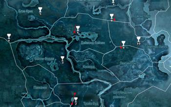 Карта побрякушек во Фронтире в Assassin's Creed 3