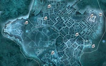 Карта с местоположением сундуков в Бостоне в Assassin's Creed 3