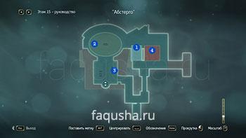 Карта с местоположением компьютеров и серверов для взлома на пятнадцатом этаже Абстерго в Assassin's Creed 4: Black Flag