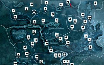 Карта охотничьих угодий Фронтира в Assassin's Creed 3