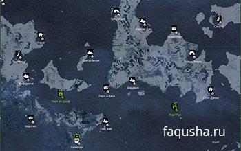 Карта с местоположением легендарных и эпических кораблей в Северной Атлантике в Assassin's Creed: Rogue