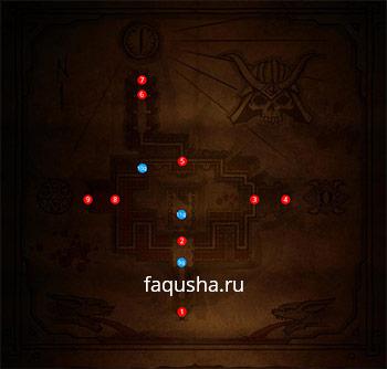 Карта гробницы Шао Кана в Крипте с предметами и локациями в Mortal Kombat X (MKX)