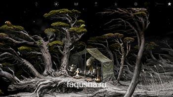 Прохождение головоломки с попугаями и мухами на летающем дереве в Samorost 3