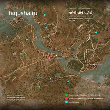 Карта с местоположением Мест Силы в Белом Саду в The Witcher 3: Дикая Охота