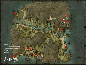 Карта сокровищ Антигуа в Risen 2: Dark Waters