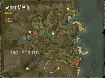 Карта Берега Меча с гробницами в Risen 2: Dark Waters