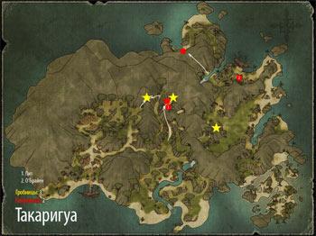 Карта Такаригуа с гробницами в Risen 2: Dark Waters