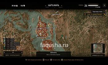 Карта секретного задания 'Наша кляча' в Ведьмаке 3