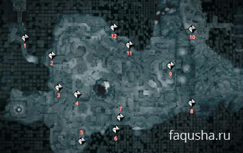 Карта Каппадокии с местоположением фрагментов данных Анимуса в Assassin's Creed: Revelation