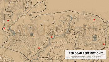Карта с расположением хижин в штате Амбарино в Red Dead Redemption 2