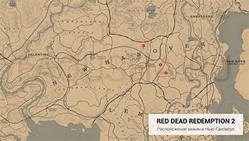 Карта с расположением хижин в штате Нью-Гановер в Red Dead Redemption 2
