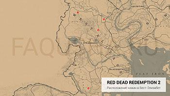 Карта с расположением хижин в штате Вест-Элизабет в Red Dead Redemption 2