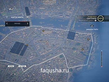 Карта с местоположением запертых золотых сундуков в районе Саутуарк в Assassin's Creed: Syndicate