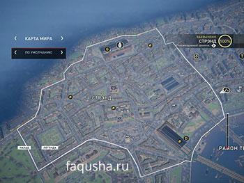 Карта с местоположением запертых золотых сундуков в районе Стрэнд в Assassin's Creed: Syndicate