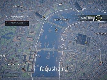Карта с местоположением запертых золотых сундуков в районе Темзы в Assassin's Creed: Syndicate