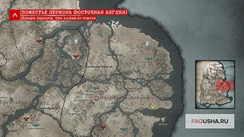Карта с расположением дочерей Лериона с тремя ключами от статуи в Assassin's Creed Valhalla