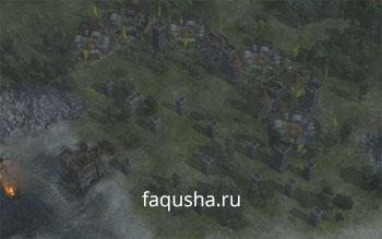 Пример обороны против войск Гая Форкаса в задании 'Пойманные в ловушку' в Anno 1404