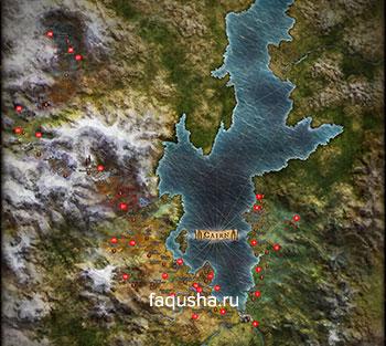 Карта с местоположением всех алтарей набожности в Grim Dawn