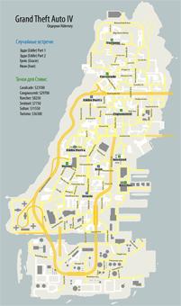 Карта Олдерни с отметками, где происходят случайные встречи в Grand Theft Auto IV (GTA4)
