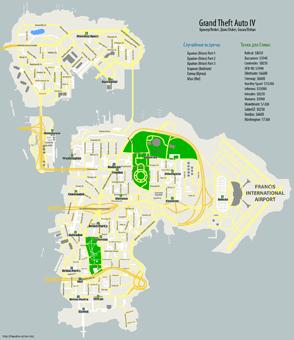 Карта Брокера, Бохана и Дюкса с отметками, где происходят случайные встречи в Grand Theft Auto IV (GTA4)