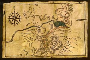 Карта Сесиля Бурдона с указанием места силы в The Witcher 2 (задание «В поисках магии»)