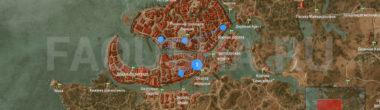 Карта задания 'Опасная игра' в 'Ведьмаке 3'