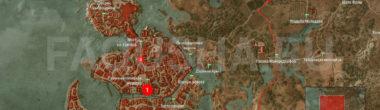 Карта задания 'Поэт в опале' в 'Ведьмаке 3'