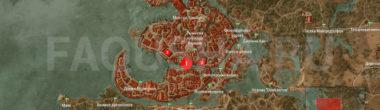 Карта задания 'Сон в большом городе' в 'Ведьмаке 3'