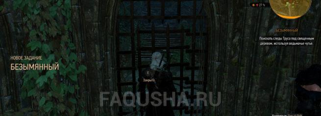 Начало прохождения задания 'Безымянный' в 'Ведьмаке 3'