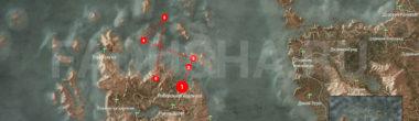 Карта задания 'По тонкому льду' в 'Ведьмаке 3'