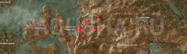 Карта задания 'Лысая Гора' в 'Ведьмаке 3'