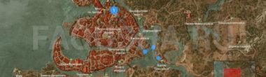 Карта задания 'Уроки фехтования' в 'Ведьмаке 3'