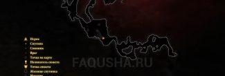 Карта с расположением долийских чернил для татуировки для Солвитуса в Dragon Age 2