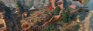Путь от главных ворот до коменданта нильфгаардского гарнизона в задании 'Сирень и крыжовник' в 'Ведьмаке 3'