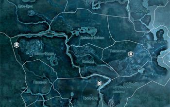 Карта с местоположением просителей с просьбами о доставке предметов во Фронтире в Assassin's Creed 3