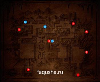 Карта Крипты с предметами и локациями в Mortal Kombat X (MKX)