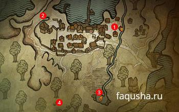 Карта с местоположением эльфки Малены во Флотзаме в The Witcher 2