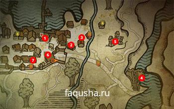 Карта с местоположением тролля и персонажей из задания «Беда с Троллем» в The Witcher 2