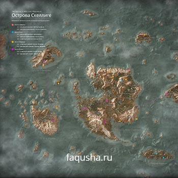 Карта с местоположением комплектов оружия и брони Школ Кота, Грифона, Медведя и Волка на островах Скеллиге в The Witcher 3: Дикая Охота