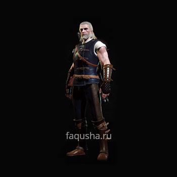Внешний вид обычного комплекта оружия и брони Школы Кота в The Witcher 3: Дикая Охота