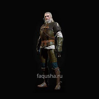 Внешний вид обычного комплекта оружия и брони Школы Грифона в The Witcher 3: Дикая Охота