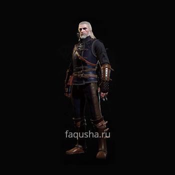 Внешний вид улучшенного комплекта оружия и брони Школы Кота в The Witcher 3: Дикая Охота