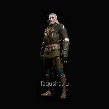 Внешний вид улучшенного комплекта оружия и брони Школы Грифона в The Witcher 3: Дикая Охота