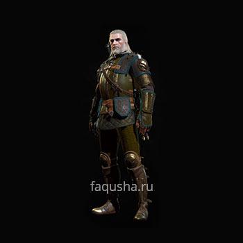 Внешний вид отличного комплекта оружия и брони Школы Грифона в The Witcher 3: Дикая Охота