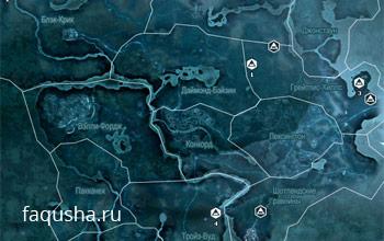 Карта с местоположением заданий Клуба авантюристов в Assassin's Creed 3