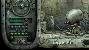 Решение второй головоломки со змейкой из щита в овальной комнате башни в Machinarium