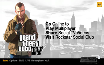 Стартовый экран Grand Theft Auto IV