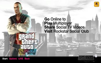 Стартовый экран The Ballad of Gay Tony, дополнения для GTA4