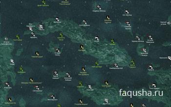 Карта с расположением бутылок с письмами в Assassin's Creed 4: Black Flag